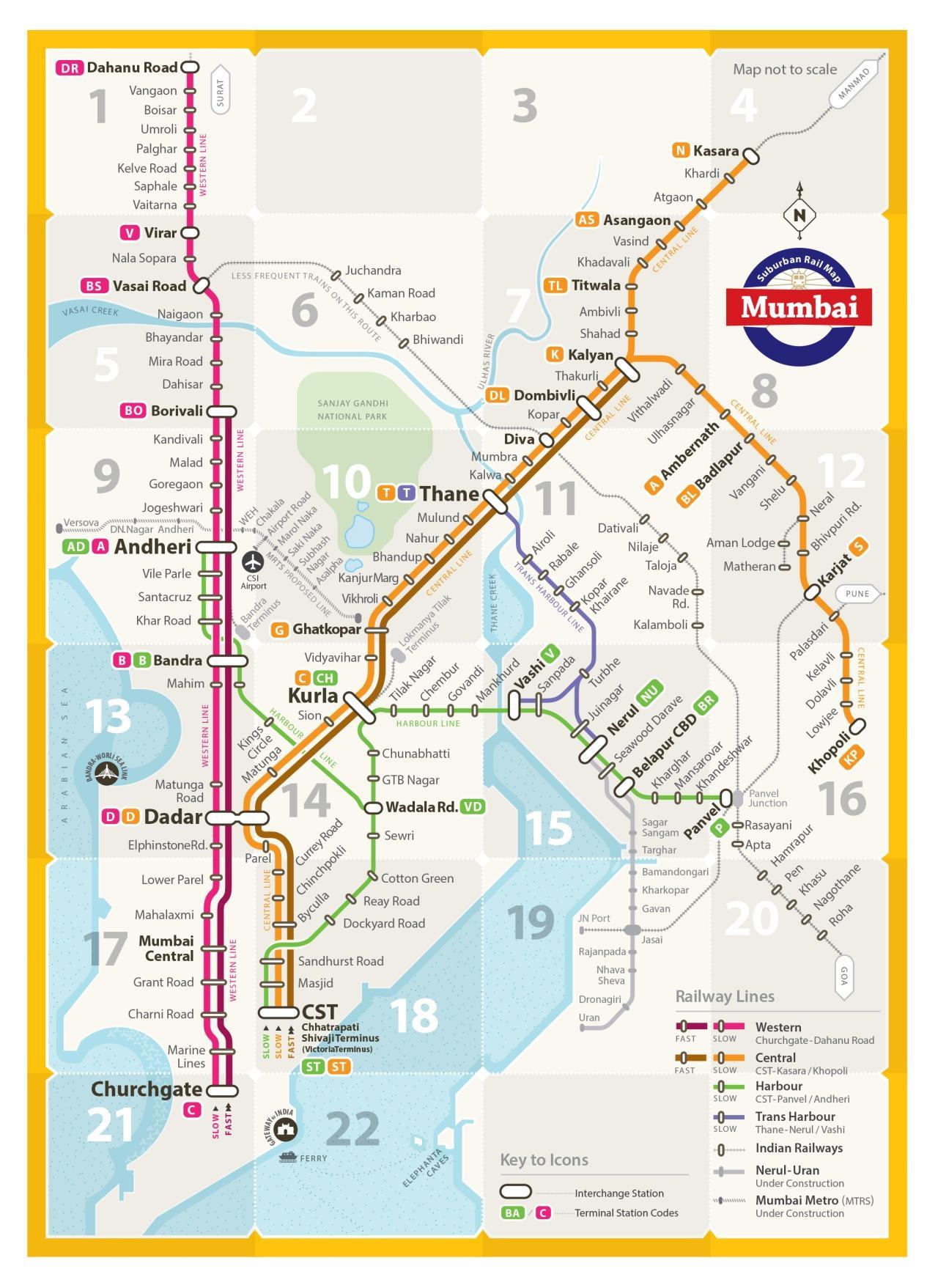 linha do oeste mapa Mumbai linha do oeste do mapa   linha do Oeste do mapa de Mumbai  linha do oeste mapa